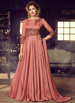 Redish Satin Embroidered Work Floor Length Designer Salwar Suit