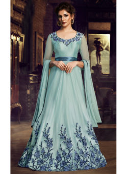Sky Blue Net Embroidered Work Floor Length Designer Salwar Suit