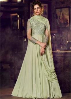 Light Green Satin Embroidered Work Floor Length Designer Sawlar Suit
