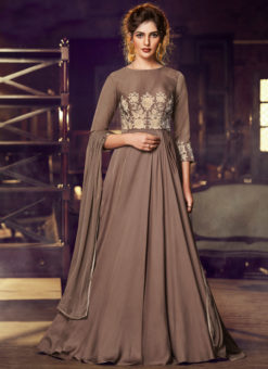 Brown Satin Embroidered Work Floor Length Designer Salwar Suit