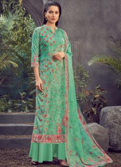 Green Designer Pure Viscose Velvet Party Wear Plazzo Suit