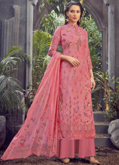 Pink Designer Pure Viscose Velvet Party Wear Salwar Suit