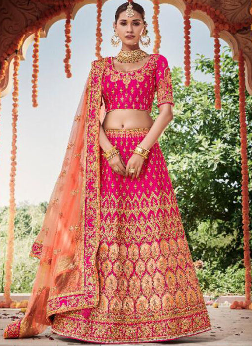 Heavy Designer Bridal Wedding Wear Silk Lehenga Choli