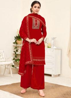 Lavish Red Georgette Embroidered Work Designer Salwar Suit