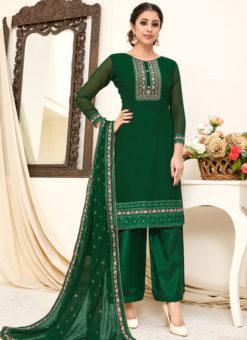 Amazing Green Georgette Embroidered Work Designer Salwar Suit