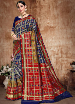 Amazing Blue And Red Banarasi Silk Zari Weaving Traditional Saree