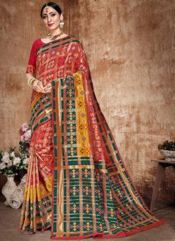 Attractive Pink And Green Banarasi Silk Zari Weaving Traditional Saree