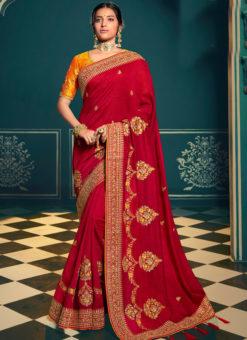 Luxurious Red Silk Embroidered Work Designer Saree