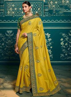 Deluxe Yellow Silk Embroidered Work Designer Saree
