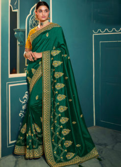 Graceful Green Silk Embroidered Work Designer Saree