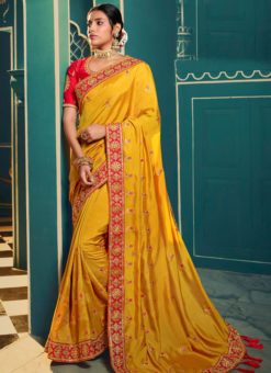 Exclusive Yellow Silk Embroidered Work Designer Saree