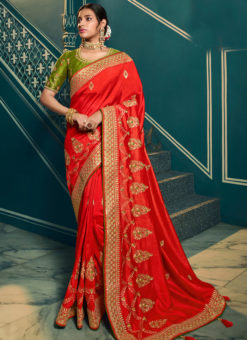 Lavish Red Silk Embroidered Work Designer Saree
