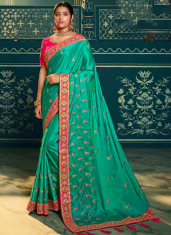 Fabulous Rama Green Silk Embroidered Work Designer Saree