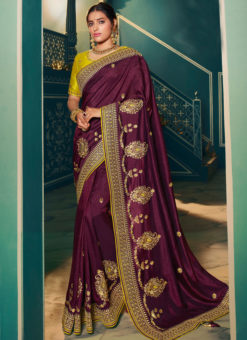 Fantastic Purple Silk Embroidered Work Designer Saree