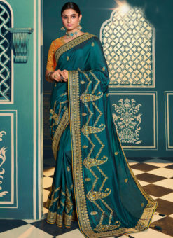 Beautiful Blue Silk Embroidered Work Designer Saree