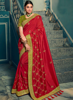 Amazing Red Silk Embroidered Work Designer Saree