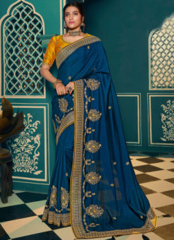 Jazzy Blue Silk Embroidered Work Designer Saree