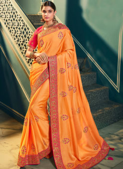 Opulent Orange Silk Embroidered Work Designer Saree