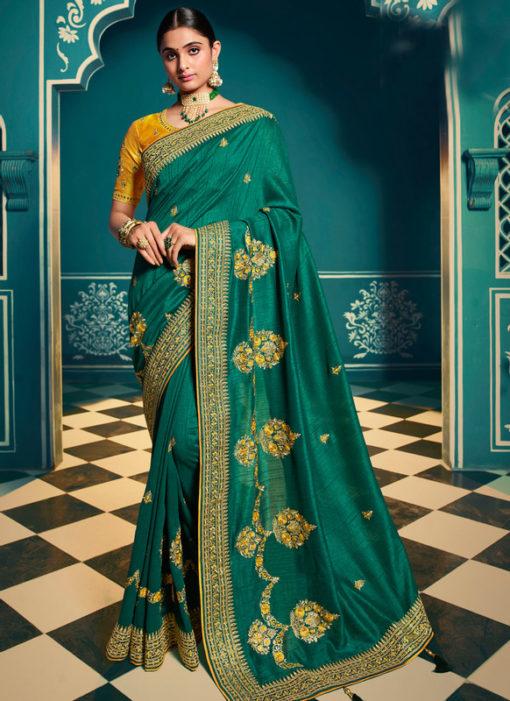 Lovely Green Silk Embroidered Work Designer Saree