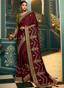 Elegant Maroon Silk Embroidered Work Designer Saree
