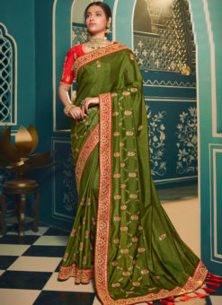 Wonderful Green Silk Embroidered Work Designer Saree