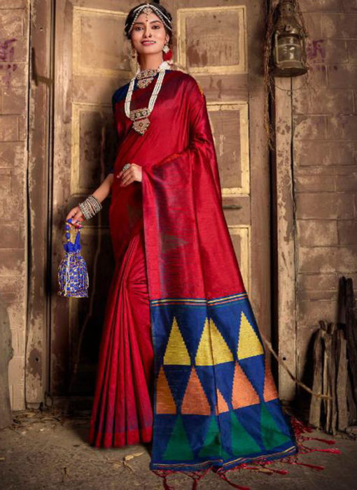 Maroon Silk Thread Weaving Designer Traditional Saree