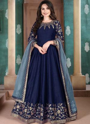 Blue Adda Silk Wedding Wear Designer Abaya Style Suit