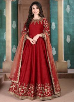 Red Adda Silk Wedding Wear Designer Abaya Style Suit