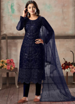 Blue Net Embroidered Party Wear Straight Cut Churidar Suit