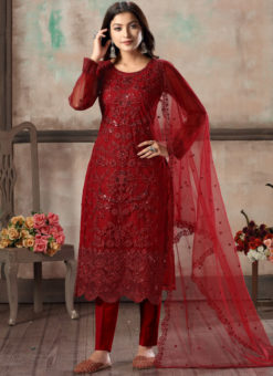 Red Net Embroidered Party Wear Straight Cut Churidar Suit