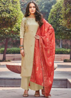 Amazing Beige Silk Embroidered Work Designer Salwar Suit