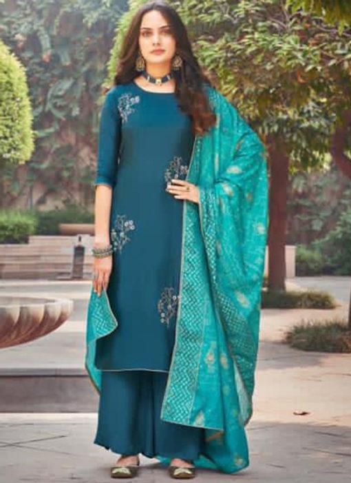 Elegant Blue Silk Embroidered Work Designer Salwar Suit