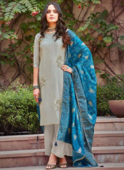 Lovely Grey Silk Embroidered Work Designer Salwar Suit
