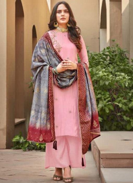 Excellent Pink Silk Embroidered Work Designer Salwar Suit