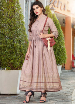 Charming Light Pink Rayon Casual Wear Foil Printed Work Long Kurti