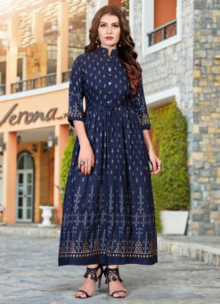 Amazing Navy Blue Heavy Rayon Casual Wear Foil Printed Work Long Kurti