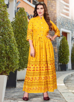 Wonderful Yellow Heavy Rayon Casual Wear Foil Printed Work Long Kurti