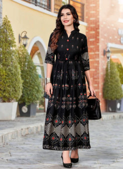 Excellent Black Heavy Rayon Casual Wear Foil Printed Work Long Kurti