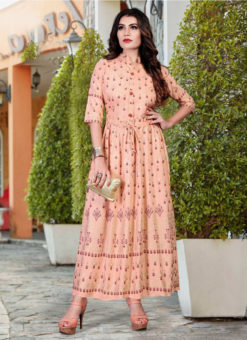 Attractive Peach Heavy Rayon Casual Wear Foil Printed Work Long Kurti