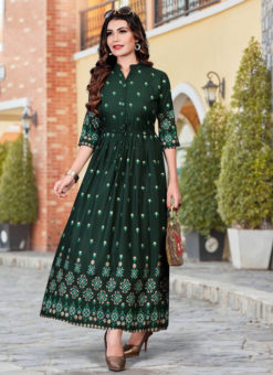 Alluring Dark Green Heavy Rayon Casual Wear Foil Printed Work Long Kurti