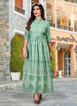 Classic Pista Green Heavy Rayon Casual Wear Foil Printed Work Long Kurti