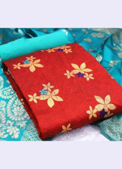 Amazing Red Banarasi Silk Traditional Wear Zari Work Salwar Suit