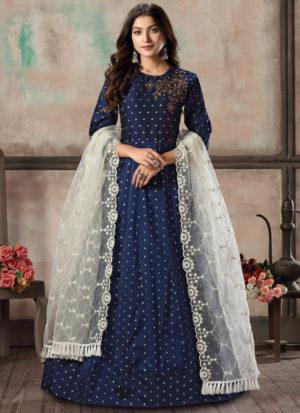 Blue Tafeta Silk Bridesmaids Gown Style Anarkali Suit
