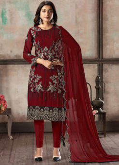 Red Faux Georgette Embroidered Festival Wear Churidar Suit