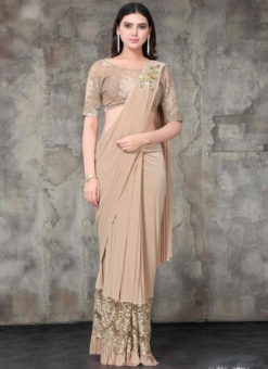 Beige Lycra Embroidered Work Designer Saree