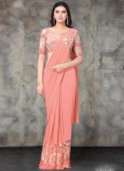 Pink Lycra Embroidered Work Designer Saree