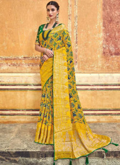 Yellow Banarasi Silk Designer Wedding Saree