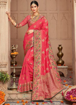 Charming Silk Zari Weaving Wedding Designer Saree