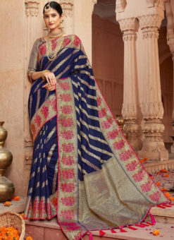 Alluring Blue Silk Zari Weaving Wedding Designer Saree
