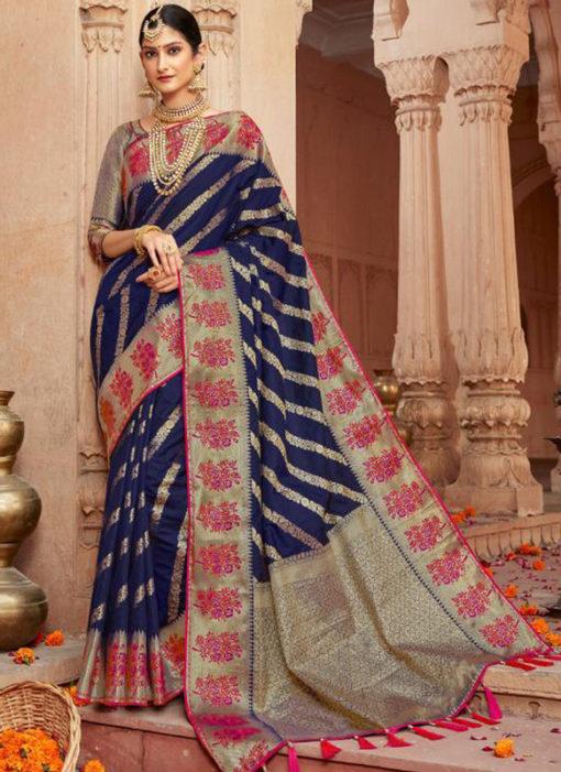 Alluring Blue Silk Zari Weaving Wedding Designer Saree